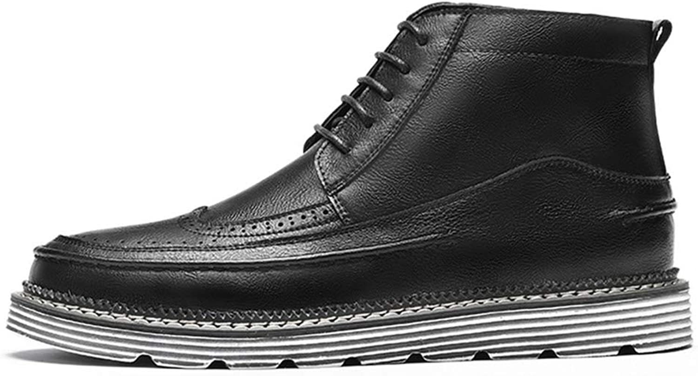 QIDI Martin stövlar män Solid Färg Flat Non - Slip Slip Slip Resistent Lace Booslipss (Färg  svart 2, Storlek  US9.5 -10  EU41  UK7.5 -8)  butikshantering