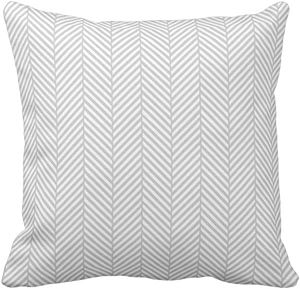 Emvency Throw Pillow Cover Gray Herringbone Decorative Pillow Case Chevron Home Decor Square 18 X 18 Inch Cushion Pillowcase