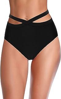 Hilor Women's High Waist Bikini Bottoms Wrap Swim Brief Short Criss Cross Tankini Bathing Suit Bottom