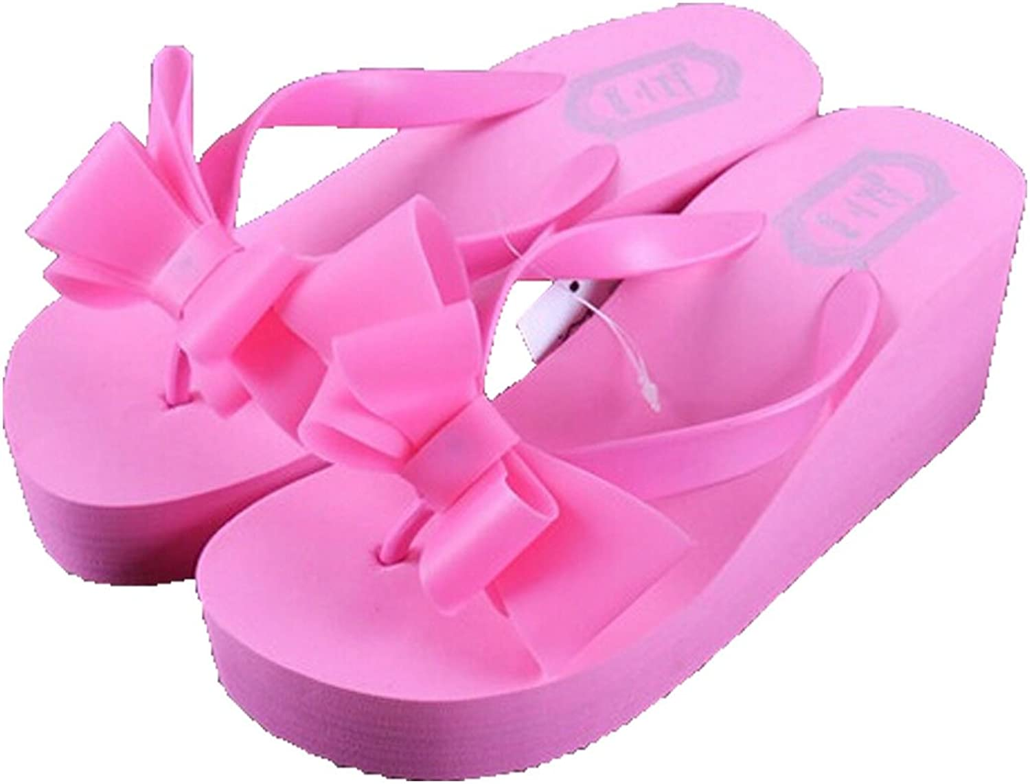 San hojas Thick Platform Flip Flop Beach shoes with Bowtie Slippers Pink