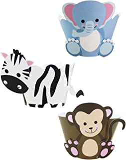 Animal Cupcake Wrappers from Cestash - Set of 48 - Monkey, Zebra, Elephant Cupcake Wrappers For Baby Shower, Birthday Party - Disposable Cupcake Liners For Kids Get Together - Muffin Holders