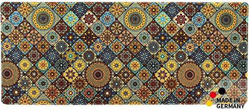 matches21 HOME & HOBBY Keukenloper tapijt tapijt moroccan tegel mozaïek blauw/oranje 50x120x0,4 cm machine wasbaar