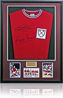 West Ham United Retro Replica Shirt Hand Signed By Sir Geoff Hurst & Martin Peters AFTAL COA