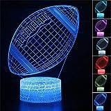 Lampe à illusion d'optique 3D en forme de ballon de rugby pour enfants - 16 couleurs changeantes - Lampe d'ambiance - Lampe de bureau - Cadeau pour enfants