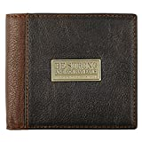 Genuine Leather Wallet for Men   Strong and Courageous with Brass Inlay – Deuteronomy 31:6 Bible Verse   Quality Classic Brown Leather Bifold Wallet   Christian Gifts for Men