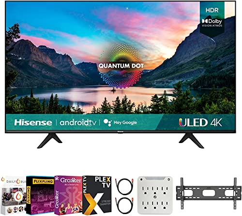 Hisense 50U6G 50 Inch U6G Series 4K ULED Quantum HDR Smart Android TV (2021) Bundle with Premiere Movies Streaming + 37-70 Inch TV Wall Mount + 6-Outlet Surge Adapter + 2X 6FT 4K HDMI 2.0 Cable