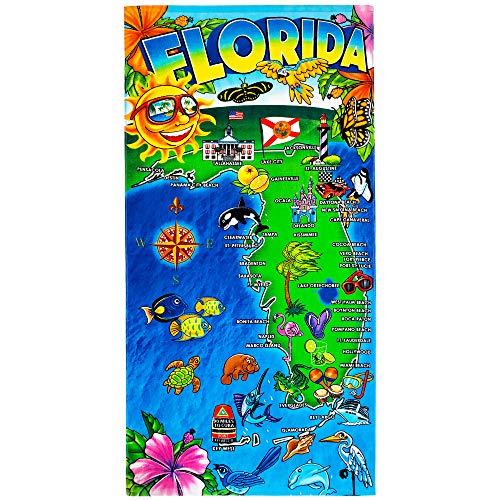 플로리다 지도 비치 타월 30 X 60인치 100% 면 - 선샤인 주(원 타월)