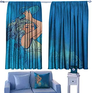 Mannwarehouse Zodiac Aquarius Bedroom windproofcurtain Sexy Woman Lady Features Stars Beauty Fortune Pattern Privacy Protection 55