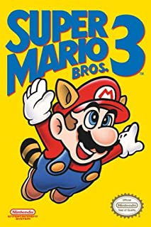 Super Mario Bros. 3 - Nintendo Gaming Poster (NES Cover - Mario Flying) (Size: 24
