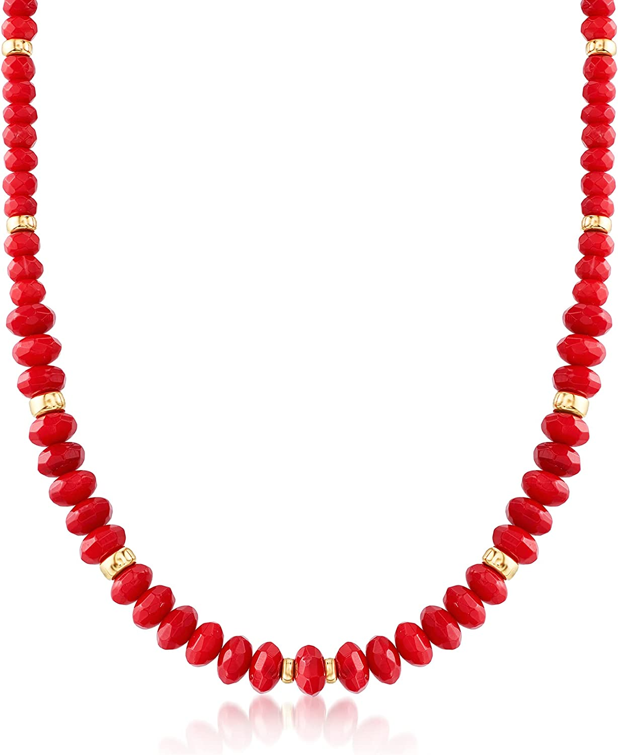 Ross-Simons Graduated Red Coral Bead Necklace With 14kt Yellow Gold