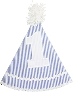 RuffleButts Infant/Toddler Girls Striped Seersucker Birthday Hat