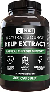 Natural Kelp Extract, 365 Capsules, 485 mg Serving, No Magnesium or Rice Filler, Thyroid Health, Gluten-Free & Non-GMO, Ma...
