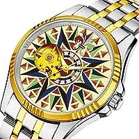 時計、機械式時計 メンズウォッチクラシックスタイルのメカニカルウォッチスケルトンステンレススチールタイムレスデザインメカニ (ゴールド)-857. 航海コンパスローズウォッチ