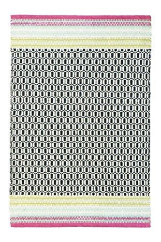 Jute & Co. Sanremo Designer tapijt, handgeweven, 100% katoen, zwart/roze, 60 x 220 cm