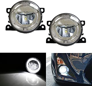 iJDMTOY Xenon White LED Fog Lamps For Acura Honda Ford Lincoln Subaru Nissan Suzuki etc. w/LED Halo Rings as Daytime Running Lights, OEM Fit 20W High Power CREE LED Fog Assy