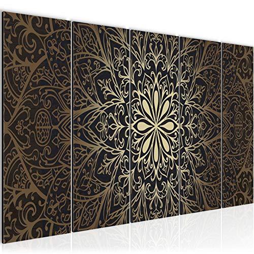 Bilder Mandala Abstrakt Wandbild 200 x 80 cm Vlies - Leinwand Bild XXL Format Wandbilder Wohnzimmer Wohnung Deko Kunstdrucke Braun 5 Teilig - MADE IN GERMANY - Fertig zum Aufhängen 107455a