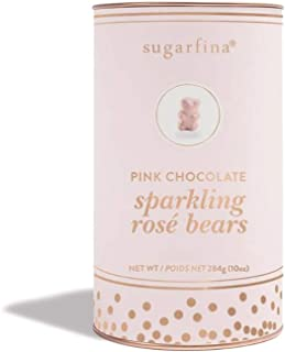 Sugarfina Pink Chocolate Sparkling Rose Wine Gummy Bears 10 Oz! White Chocolate Covered Gummy Bears Infused with Rose Wine! Non-Alcoholic, No Artificial Flavors & Gluten Free Gummies!