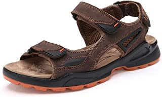 Shoes Comfortable Summer Outdoor Sandals for Men Genuine Leather Comfortable Breathable Beach Shoes Anti-Slip Flat Round Open Toe Hook&Loop Strap Fashion (Color : Brown, Size : 9 UK)
