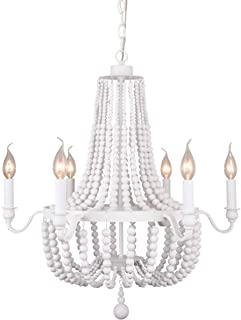 Alice House 6-Light Dining Room Chandelier, White Finish, Entryway Pendant Lighting with 72