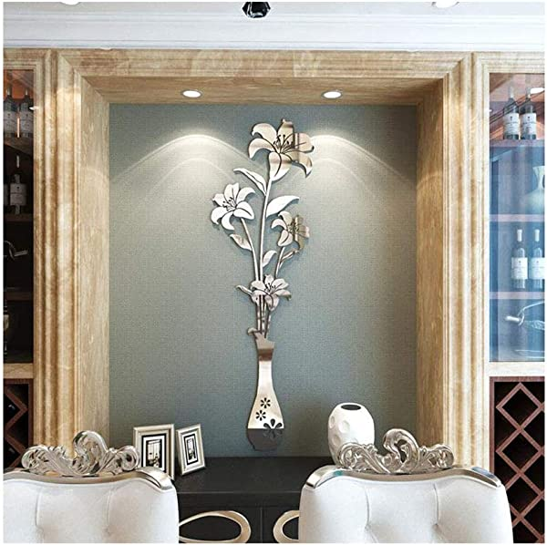 DIY Vase Lily Flower Pattern Acrylic Mirror Effect 3D Wall Sticker Living Room Bedroom Entrance Restaurant TV Background Wall Decor Art Removable