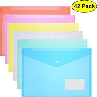 ZCZN Clear Plastic Document Folders US Letter File Envelopes with Label Pocket & Snap Button for School Home Work Office Organization, 6 Assorted Color, A4 Size 13.25 x 9.26 inches Translucent Blue, Green, Yellow, Red, Rose Red, White