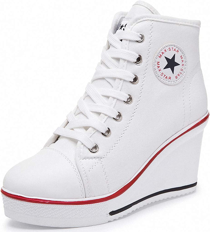 York Zhu Women Fashion Sneaker,Lace up Canvas Fashion Black Sneaker shoes Casual shoes