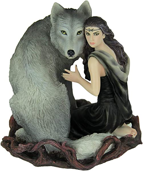 Resin Statues Anne Stokes Soul Bond Hand Painted Statue 5 X 5 75 X 5 Inches Gray