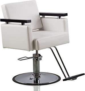 Danyel Beauty Professonal Hydraulic Barber Chair Salon Beauty Spa Hair Styling Chair (round base, white color)