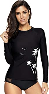 CharmLeaks Womens Long Sleeve Rash Guard Swimsuit SPF Shirts UV Surf Top Swimwear
