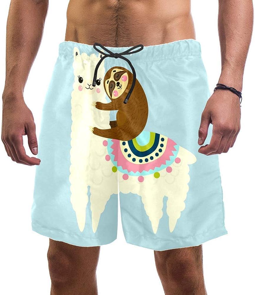 HEOEH Man Beach Shorts, Cute Fluffy Llama Or Alpaca and Sloth Painting Swim Trunks Elastic Swimsuit Board Shorts for Men