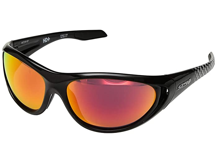 Spy Optic Scoop 2 (Black Checkered Fade/HD Plus Rose/Red Spectra Mirror) Athletic Performance Sport Sunglasses