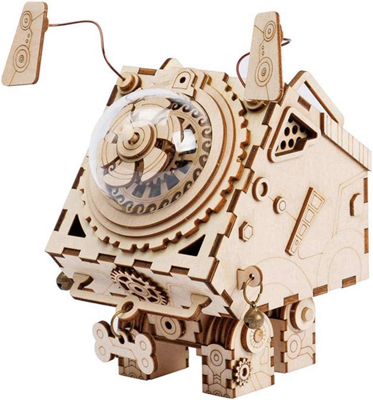 mejor servicio YMXLJJ Tridimensional Puzzle Puzzle Puzzle De Madera Modelo Adulto Kit DIY Robot Dog Music Box Corte verde Modelo de Madera Edificio de Regalo de Cumpleaños Decoración del Hogar  Descuento del 70% barato