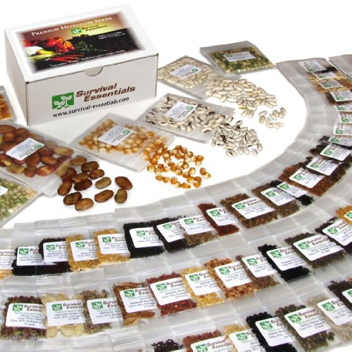 Survival Essentials 135 Variety Premium Heirloom Non Hybrid Non GMO Seed Bank - 23,335+ Seeds - All In One Super Value Pak?Veggies, Fruits, Medicinal/Culinary Herbs - Plus 9 FREE Rare Tomato Varieties.