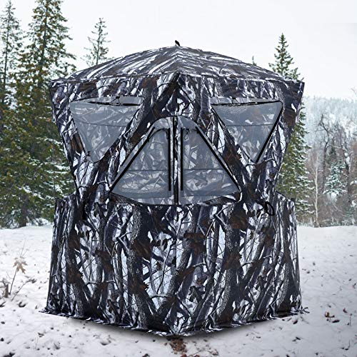 MASTERCANOPY Portable 2-4 Person Ground Hunting Blind, Oxford Fabric Hunting Blinds (Snow Camouflage)