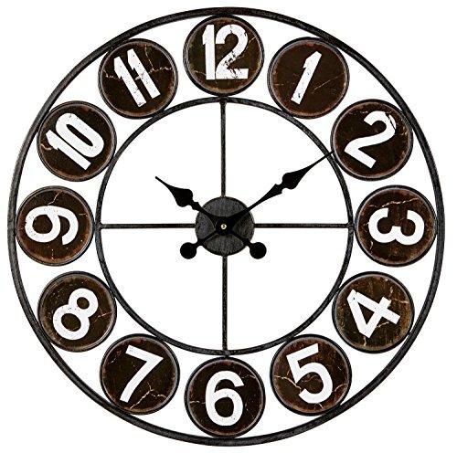 Horloge Murale Noir 60 cm – Horloge Loft Noir et Blanc Métal – Horloge Silencieuse 60 cm – Horloge Style Industriel – Marque Française