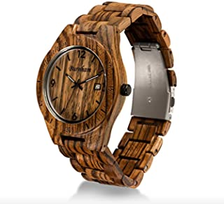 Burnham Wooden Watch - ARG002 Stylish Mens Wood Watches [Solid Natural Wood Grain] Upgraded Swiss Quartz Movement and Date [Easy Set and Adjust Wood Watch Strap] Fine Crystal Face and Stainless Clasp