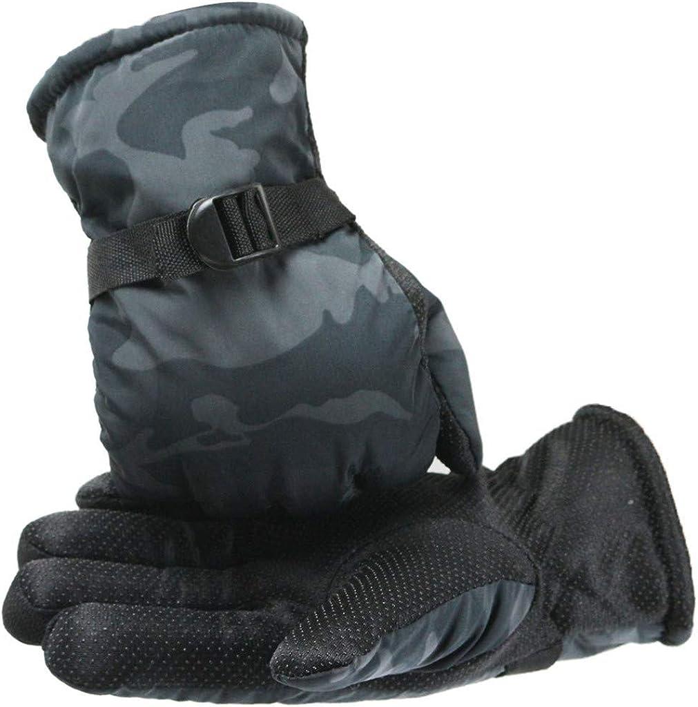 Winter Ski Gloves for Men Double Layer Thicken Warm Snowboard Waterproof Cold Weather Outdoor Gloves