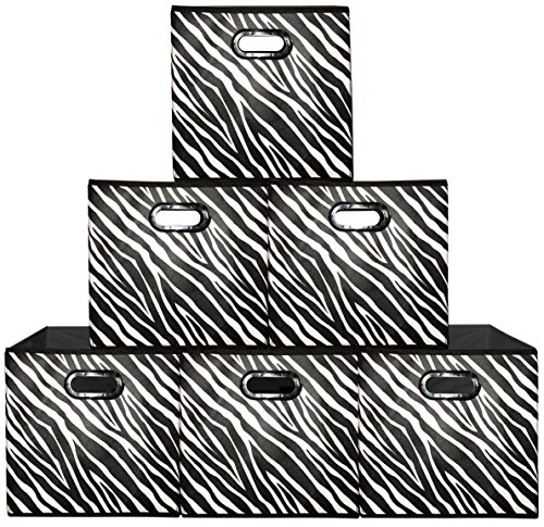 Prorighty [6-Pack, Zebra Pattern] Storage Bins, Containers, Boxes, Tote, Baskets   Black&White Collapsible Storage Cubes Nursery Office Organization   12inch Cubes