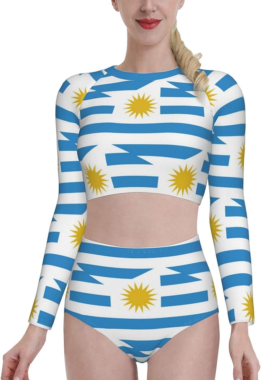Retail Sign Systems Uruguay Flag Womens Two Piece Swimsuit Long Sleeve Rash Guard Swimwear