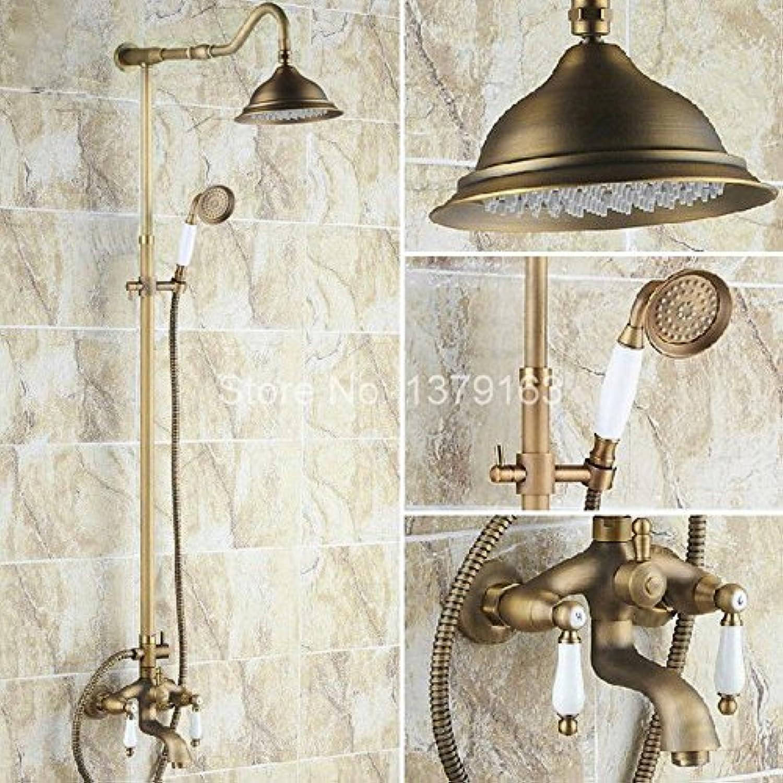Luxurious shower Luxurises Badezimmer Regendusche Wasserhahn Set Messing antik Handheld Duschkopf zwei Keramik Hebel Badewanne Mixer ars 242 Tippen