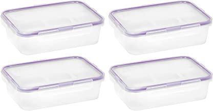 Snapware 1098447 4.5-Cup Airtight Rectangle Container with Purple Seal, Pack of 4 Containers