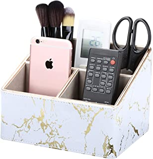 KINGFOM 3 Compartment Pu Leather Desk Remote Controller Holder Organizer; Home Sundries Storage Box; Tv Guide/Mail/Cd Orga...