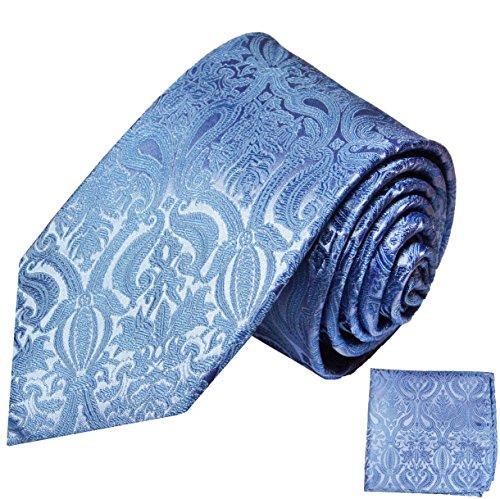Paul Malone Krawatten Set 100% Seide blau paisley Hochzeitskrawatte +Einstecktuch