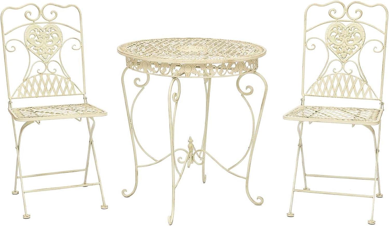 Gartentisch und 2 Stühle Bistrotisch Eisen Garten antik Stil Gartenmbel weiss