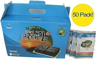 Headogi Seochun paraekim Korean Premium Seaweed Snack Roasted and Sea Salted Seasoned green Laver 7g x 50 Pack, Product of...