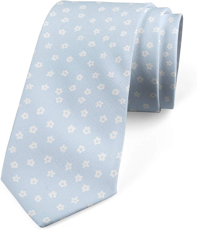 Ambesonne Men's Tie, Scattered Small Blooms, Necktie, 3.7