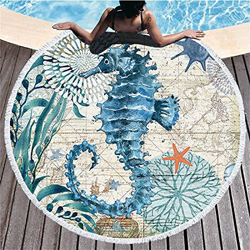 Toalla De Playa Redonda Ocean Series, Patrón De Impresión Digital, Toalla De Microfibra, Tapete De Playa A Prueba De Arena De Secado Rápido 150 * 150cm