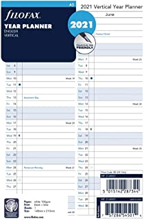 Filofax 2021 Refill, A5, Full Year Vertical Planner, English, 2021, 8.25 X 5.75 inches (C68501-21)