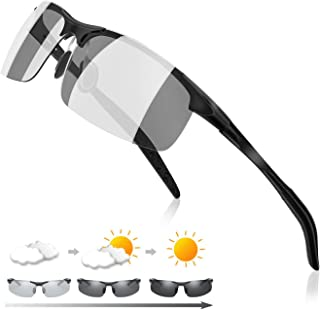 Fanvs 偏光サングラス メンズ スポーツサングラス 変色調光サングラス【AL-MG合金材/超軽量メタル/UV400 紫外線カット】運転/野球/自転車/夜釣り/ランニング/ゴルフ/昼夜兼用