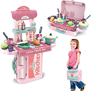 Kitchen Set for Kids Play Food for Toddlers Kitchen Picnic Set Toy Pretend Play Cooking Playset with Portable Storage Case...